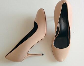 Céline beige leather pumps round toe