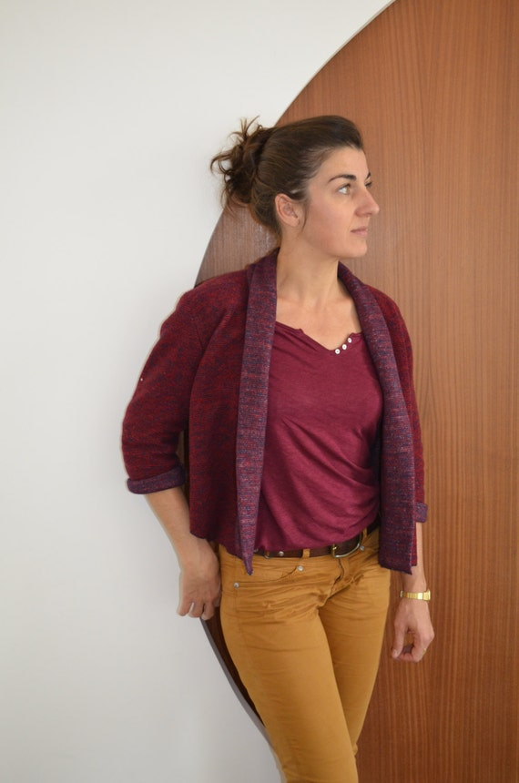 Red women vest wool fleece and cotton, heathered red garnet, bordeaux, burgundy. wool vest. Burgundy vest, cardigan