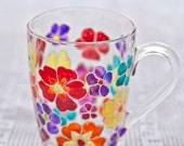 Perfect mother's day gift. Hand painted mug with multicolor flowers. Stained-glass effect cup. Inspiration kitchen decor. Engagement gifts.