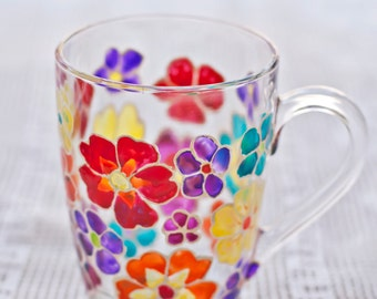 Stained glass mug with multicolor flowers. Perfect mothers day gift. Inspiration kitchen decor. Gift for her, funny cozy mug, hot tea coffee