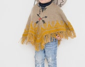 Hand knit kids poncho // Mustard poncho yellow cape toddler 2-3 years, warm cape knitted poncho, fringed tribal toddler cape, onward onward