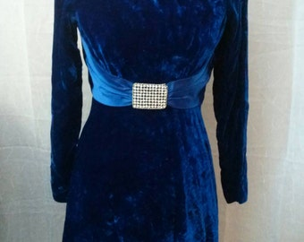 Velvet Party Dress - Vintage 1950s/60s Blue Velvet Party Dress with satin trim. Needs a little TLC