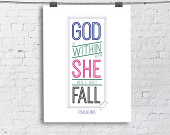 God is within her, she will not fall Quote Print, Printable wall decor, Christian Bible quotes poster digital download