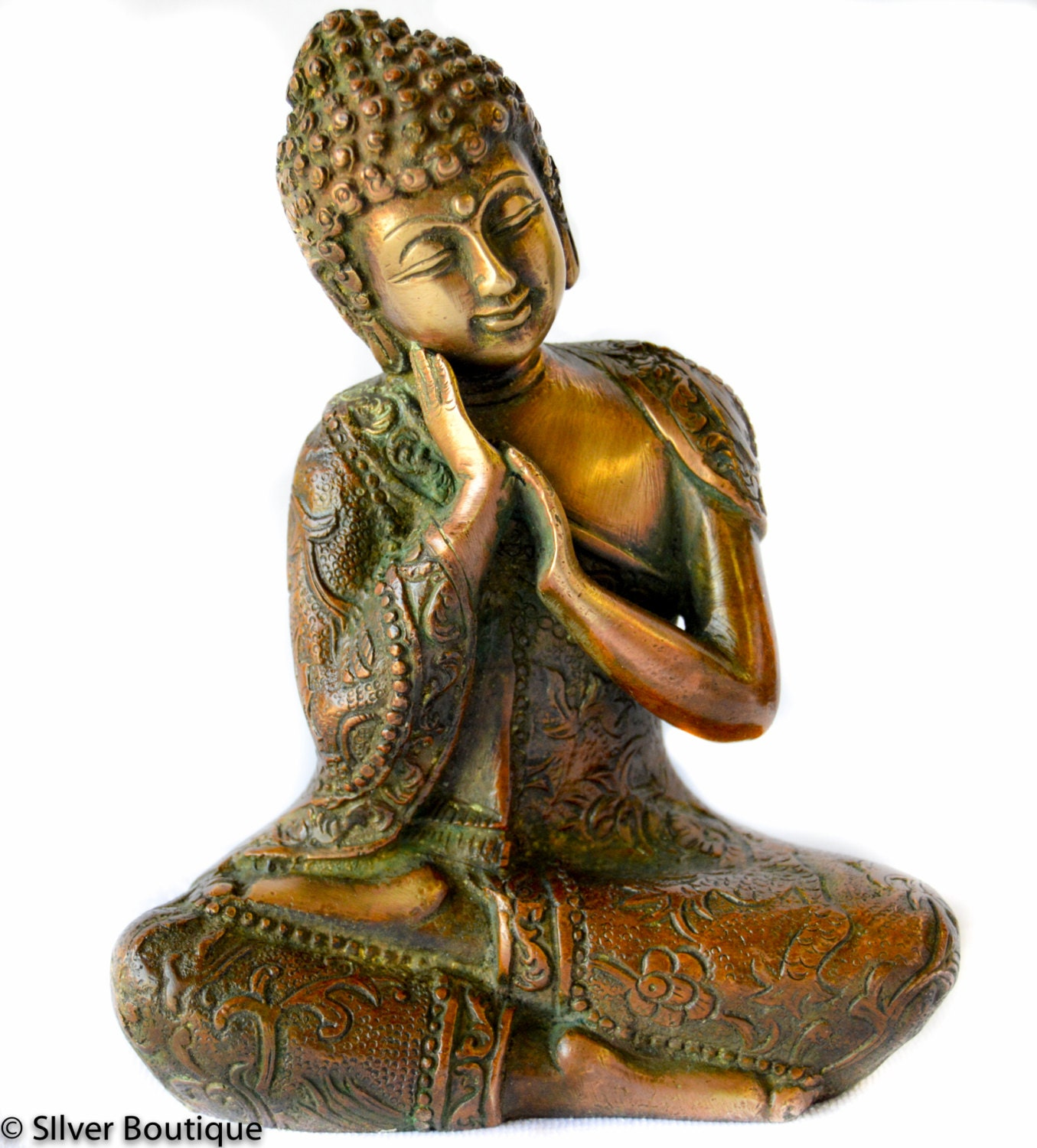 Sleeping Buddha Statue Hand Carved Brass In Two Tone Antique