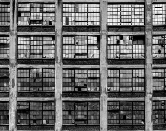 Abandoned Photography, Black and White Print, Broken Windows, Industrial Decor, Small Wall Art