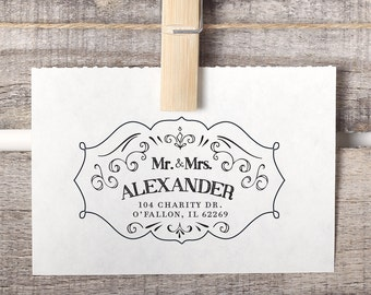 Custom Wedding Address Stamp, Return Address Stamp, Fancy Address Stamp, Style No. 63