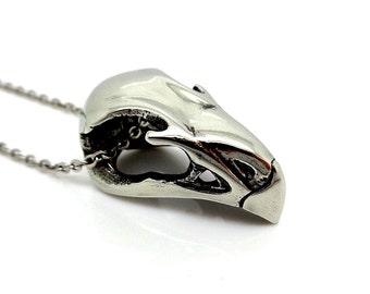 Falcon Bird Skull Necklace, Pewter Pendant, Animal Head Charm Jewelry