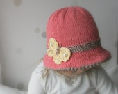 Sale! KNITTING PATTERN brim sun hat Mary with a butterfly (baby, toddler, child, woman sizes)