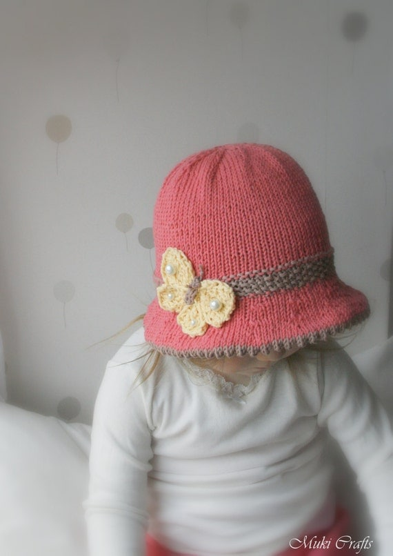 Knitting Pattern For Baby Hat With Brim : KNITTING PATTERN brim sun hat Mary with a butterfly baby