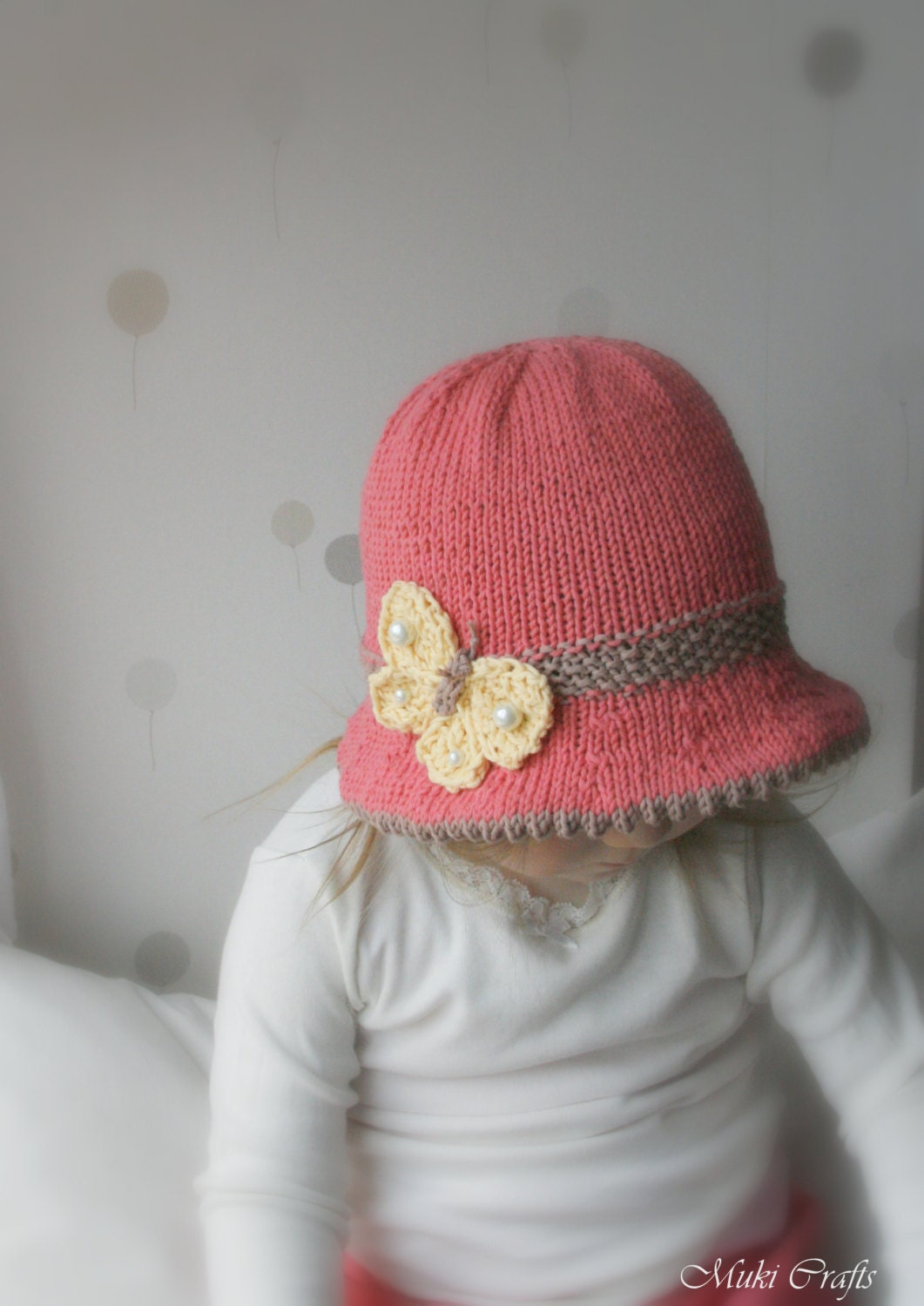 Loom Knit Baby Hat With Brim : Knitting pattern brim sun hat mary with a butterfly baby