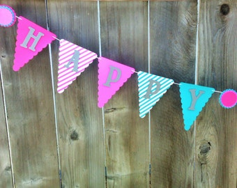 PINK, PURPLE, and BLUE Birthday Party Banner, Purple Birthday Banner, Aqua Blue Birthday Banner, Girls Birthday Banner, Pink Birthday Party