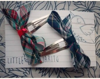 Set of Two Tartan Bow Clips (Blue and Grey)