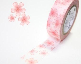 Japanese MT ex Washi Masking Tape - Sakura Cherry Blossom Flowers (Pink) Design