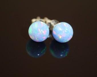 Blue Fire Opal Stud Earrings on 925 Sterling Silver Posts