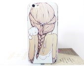 Charlie and Lola  iPhone 6/6s illustrated girl with kitten