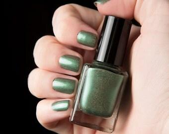 Gator Green nail lacquer - glittering green holographic nail polish - .45oz/13.2mL