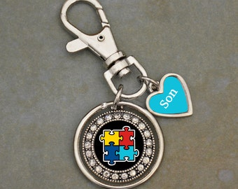 Custom Loved One Autism Awareness Keychain