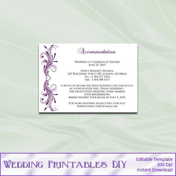 Wedding Enclosure Cards Template Plum Purple Diy