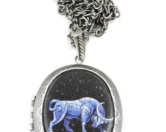 Taurus Locket & Gift Box, Astrology Locket, Necklace, Taurus Necklace, Taurus Jewellery, Locket, Gift, Bull, Jewellery, Jewelry, Zodiac