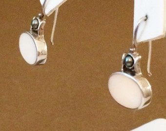 Sterling Silver Mother Of Pearl And Black Pearl Earrings