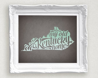 My Old Kentucky Home Printable •Mint Ombre Instant Download • 8 x 10 AND 11 x14