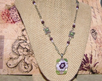 Purple Flower Necklace made of Dichroic Fused Glass