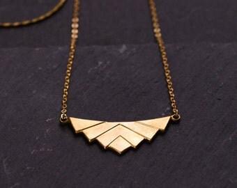 Raw brass Lotus necklace