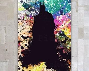 Watercolor Batman Digital Art Print, Batman Poster, Dark Knight Poster download, Dark Knight  11 x 16  watercolor digital poster GD-44
