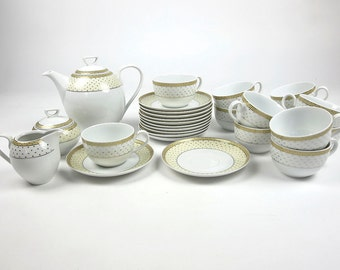 27 Pieces Polish Porcelain Coffee Set Cmielow 1790 Made In Poland Plate White Yellow Gold Silver Golden Pattern