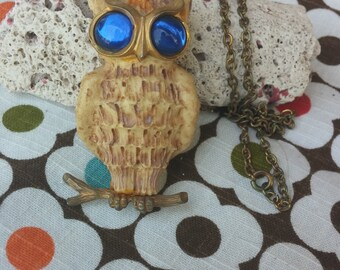 Large Funky Vintage Luke Razza Resin Owl Pendant Blue Glass Eyes Cast Brass Feet Branch Perch Long Brass Chain