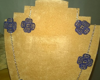 Blue Lace and Silver Chain Flower Long Necklace and Earring Set