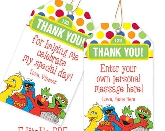 EDITABLE PDF Favor Tag  / Thank You Tag / Instant Download / Elmo, Cookie Monster, Big Bird, Oscar the Grouch