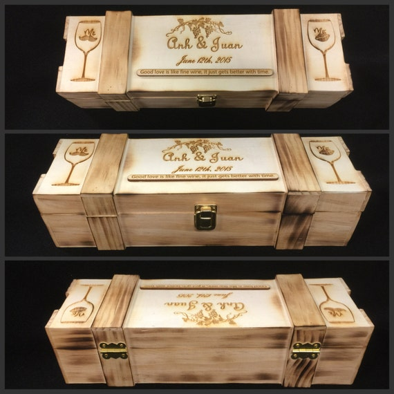 Rustic Wine Box Custom Wedding Ceremony Box Personalized