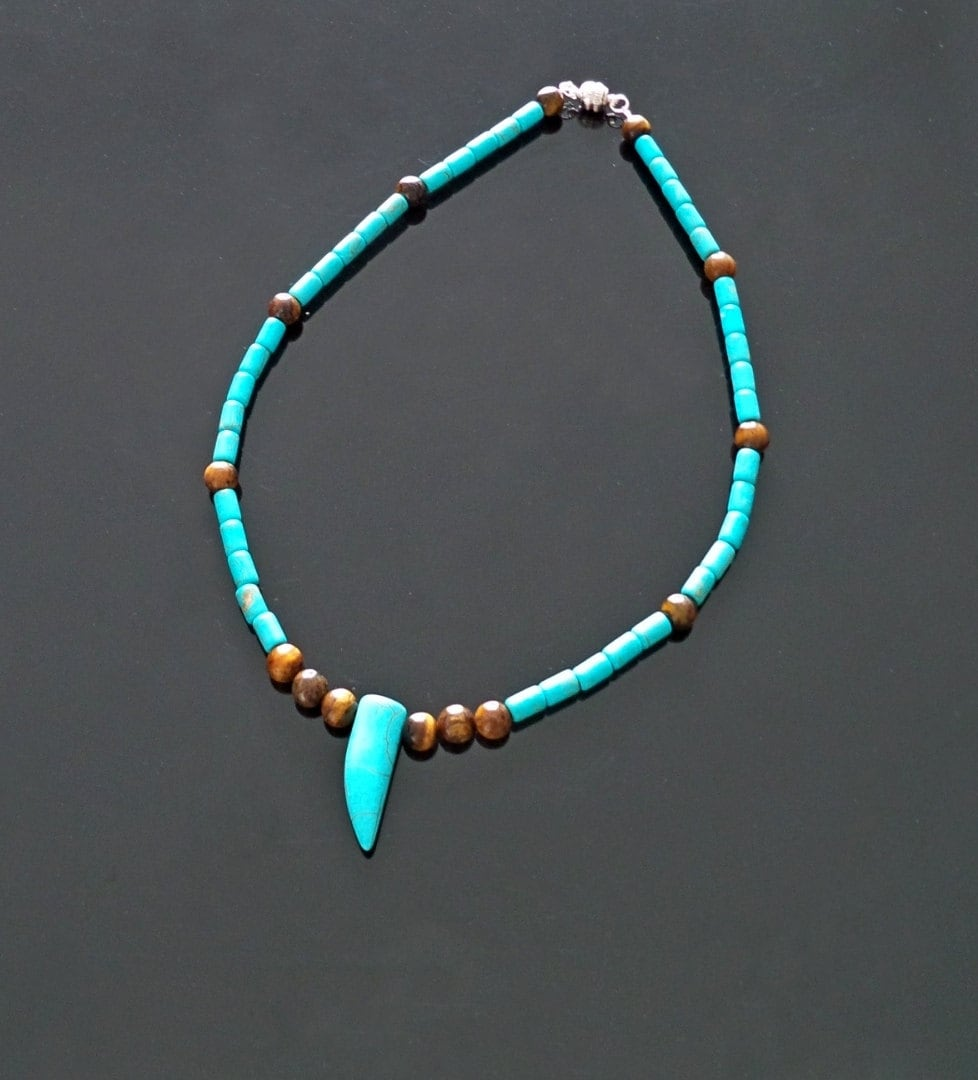 turquoise tiger s eye s necklace gemstone by