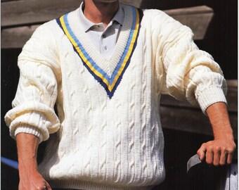 Mens Knitting Pattern Mens Cricket Sweater Mens V Neck Sweater Cable Sweater 36-50 inch Mens Knitting Patterns PDF Instant Download