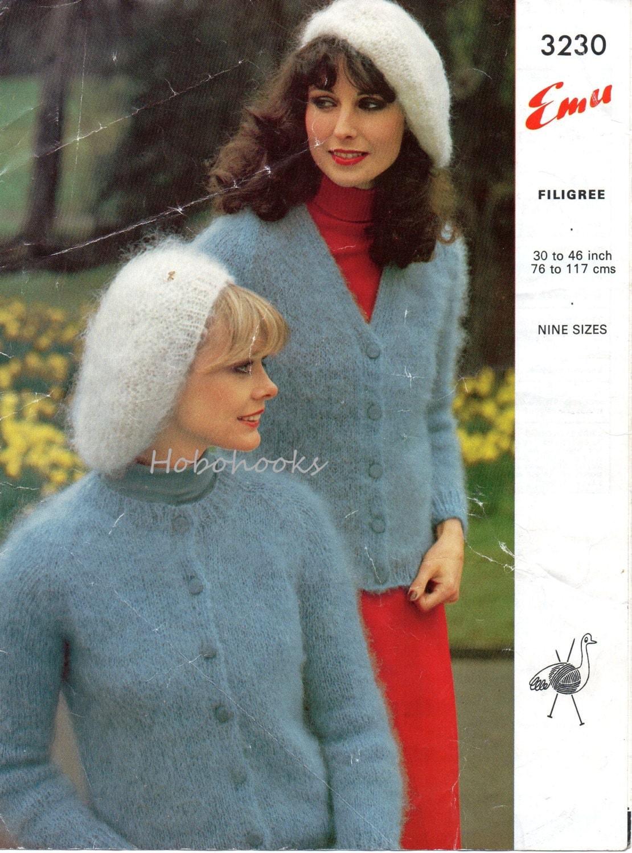 Mohair Beret Knitting Pattern : womens mohair cardigans & beret knitting pattern vintage 1970s