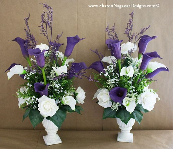 Purple Wedding Altar Flowers: Altar Arrangement / Centerpiece Real Touch By