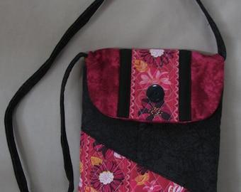 Quilted Purse Dark Pink Black Hip Bag