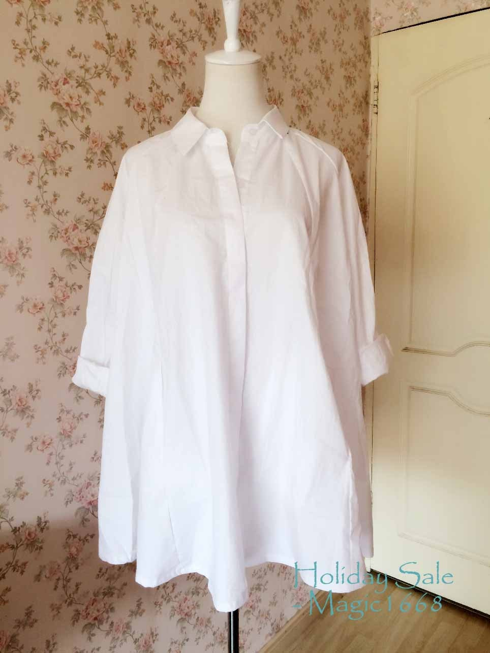White Cotton Maternity Blouse 102