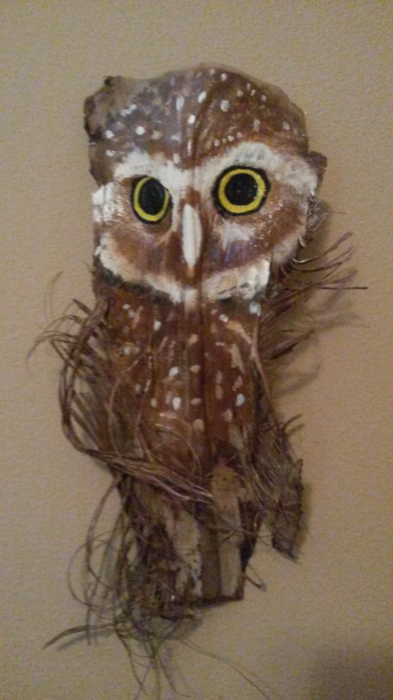 Baby Burrowing Owl Painted Palm Frond By Paintedpalmsbypenn