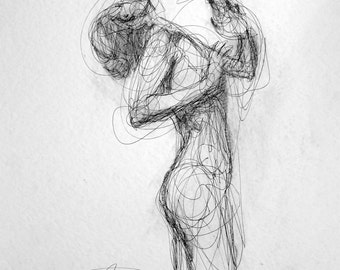 Large Pair of Expressive Contemporary Female Figurative Charcoal and Ink Drawings