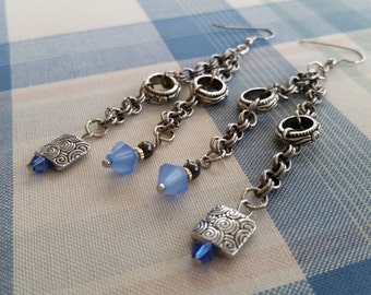 Industrial Chic Blue and Silver Metal Beaded Dangle Earrings on Silver Metal Double Link Chains and Rings - Hang 3.5 Inches