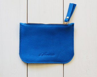 Coin purse, Blue leather purse, leather coin bag, Credit card holder