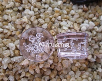"Pink Bubble Plugs Pyrex Glass - One Pair Gauges 00g 7/16"" 1/2"" 9/16"" 5/8"" 3/4"" 1"" 9.5 mm 10 mm 12 mm 14 mm 16 mm 18 mm 20 mm 22 mm 25 mm"