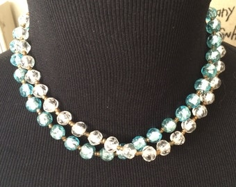SALE!!! Vintage Estate 30s 40s Mirror Mercury Glass Double Strand Blue and Clear Layered Bead Necklace