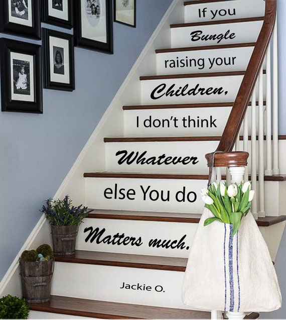wall decals quote about children staircase by decalmyhappyshop. Black Bedroom Furniture Sets. Home Design Ideas
