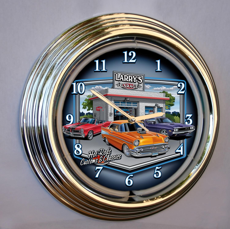 Custom Neon Garage Clocks Personalized Hot Rod Neon Clock