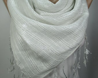 Sparkle Scarf Shawl White Cowl Scarf Sparkly Fringe Scarf Women Holiday Fashion Accessories Gift Ideas For Her For Mom MELSCARF
