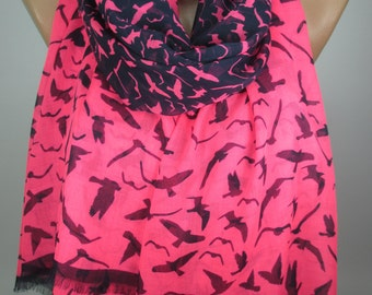 Bird Print Scarf Soft Cotton Scarf Neon Pink scarf Large Pareo Scarf Women Fashion Accessories Christmas Gift Ideas For Her MELSCARF