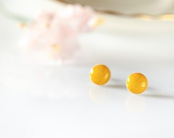 Ceramic stud earring Small 10mm earrings Yellow stud earrings on sterling silver posts Ceramic earrings Clay jewelry Round stud earrings